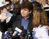 Former Illinois Gov. Rod Blagojevich, with his wife Patti at his side, speaks to the media Wednesday, March 14, 2012 in Chicago. The 55-year-old Democrat is due to report to a prison in Colorado on Thursday to begin serving a 14-year sentence, making him the second Illinois governor in a row to go to prison for corruption. (AP Photo/M. Spencer Green)